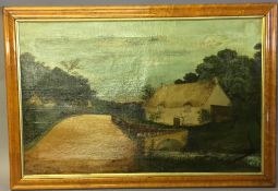 ENGLISH NAIVE SCHOOL (19th century), Rural Cottage in a Village Landscape, oil on canvas, framed.