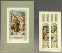 Two FLORENCE CAMM watercolours of stained glass window designs, numbers 433 and 539,