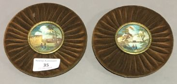 A pair of miniature pictures