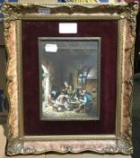After TENIERS, Tavern Interior, gouache, signed,