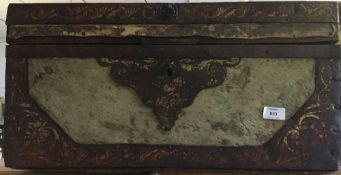 An 18th century iron and hide trunk