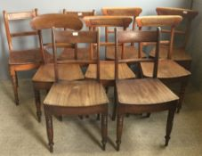 Nine various Victorian solid seated country chairs