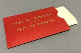 A copy of Freedom for the City of London on vellum,