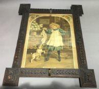 A large vintage Tramp Art frame