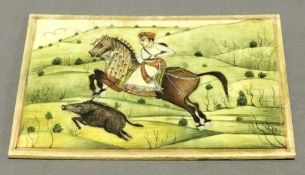 An Indian miniature depicting pig sticking