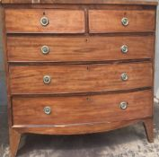 A 19th century mahogany bow front chest of drawers