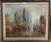 City Scene at Night, oil,