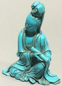 A Chinese turquoise figure of Guanyin,