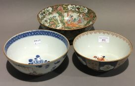 Three Chinese porcelain bowls,