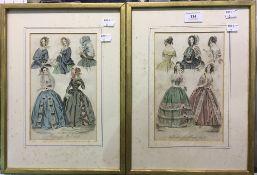 A pair of 19th century fashion prints