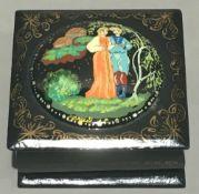 A Russian papier mache marriage box