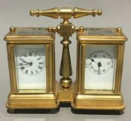 A double miniature carriage clock