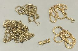 A quantity of 9 ct gold chains