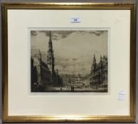 RENE VAN DE SANDE (1899-1946) French, Brussels Grand Place, limited edition etching, signed,