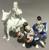A 19th century Chinese blanc de chine figure on horseback,