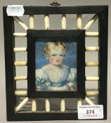 A watercolour portrait miniature in ebonised empire frame,