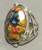 A millefiori silver ring