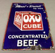 An original Oxo pictorial enamel advertising sign