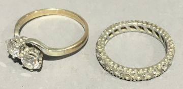 A 9 ct gold dress ring and an eternity ring