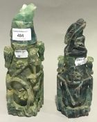 Two Chinese carved fluorite lidded vases