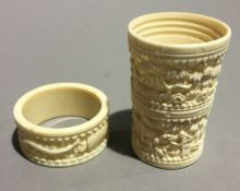 A late 19th century Canton dice shaker and a napkin ring