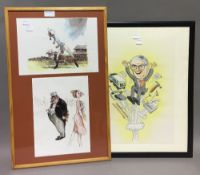 A Marks and Spencer's caricature, together with two Tales from the Turf prints,