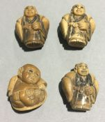 Four small marine ivory carved figures