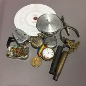 A quantity of various small items, including a plated pair cased pocket watch, military medals,