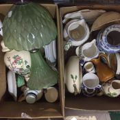 Two boxes of miscellaneous ceramics and a ceramic elephant stool