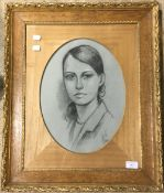 A Continental portrait of a blue eyed beauty, pastel, signed,