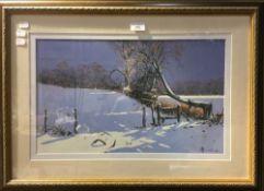 BRIAN HARRILD, Winter Scene, gouache,