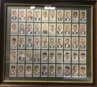 A framed set of Players cigarette cards,