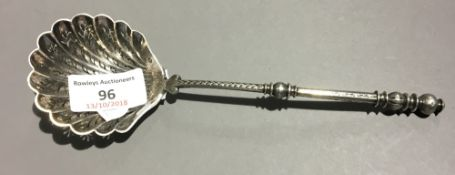 A French silver sifter spoon