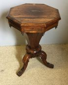 A Victorian rosewood trumpet work table