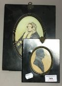 A 19th century silhouette miniature and a print of a lady