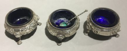 A set of three silver salts, London 1875, Daniel and Charles Houle,
