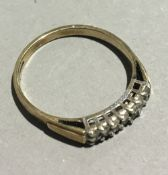 A 9 ct gold diamond set ring (1 gram all in)