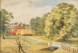 AMERICAN NAIVE SCHOOL (early 20th century), Farmstead, Watercolour, framed and glazed. 25.5 x 17.