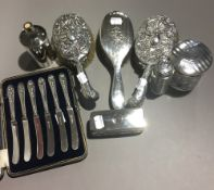 A quantity of Victorian and later silver mounted dressing table pieces