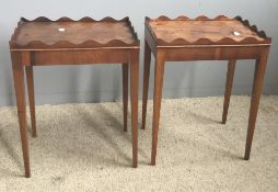 A pair of yew veneered side tables