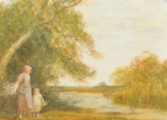 THEODORE HINES (19th century), Faggot Gatherer and Child in a River Landscape,