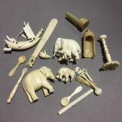 A small collection of various ivory and mother-of-pearl items