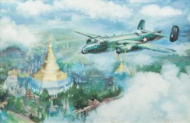 After FRANK WOOTTON (1911-1998) British, B25 Mitchell Medium Bomber Over Burma Gouache,