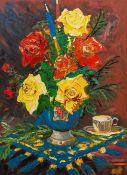 BRITISH SCHOOL (20th century), Floral Still Life, Impasto oil on board, framed. 59 x 82 cm.