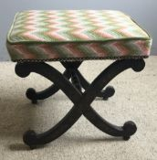 A 19th century chinoiserie decorated X-frame stool