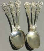 Six American silver teaspoons,