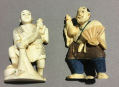 A late 19th /early 20th century ivory netsuke and a small late 19th century ivory okimono