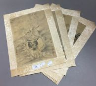 Four Chinese pictures on silk
