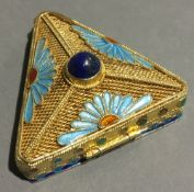 A Chinese silver and enamel box