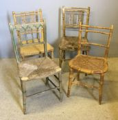 Four early 19th century faux bamboo chairs